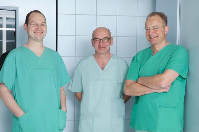 Das OP-Team, Dr. Jens Flottemesch, Dr. Franz Ertl, Dr. Hans Fünfgelder